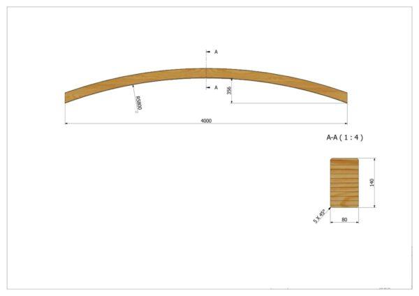 Brückenbogen 4.00m x 8.0cm x 14.0cm bei Bogenpfosten.de